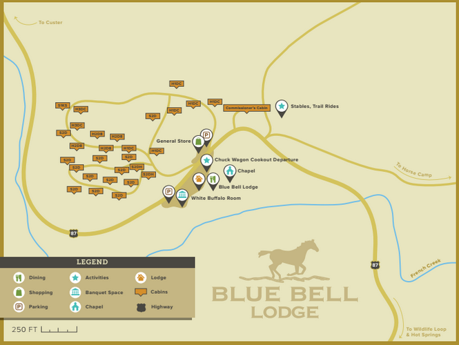 Map of Blue Bell Lodge